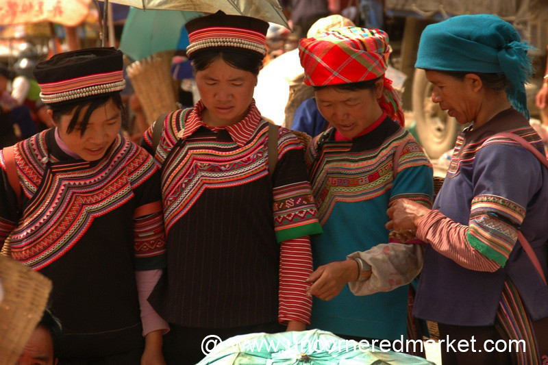 Hani and Yi Women at Yuanyang Market - China