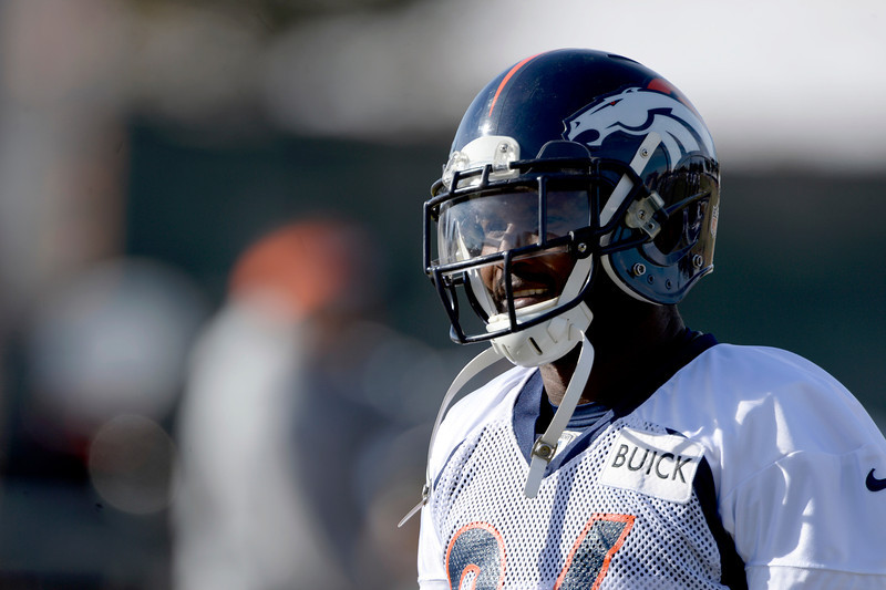 . Denver Broncos cornerback Champ Bailey (24) looks on during  practice January 9, 2014 at Dove Valley (Photo by John Leyba/The Denver Post)