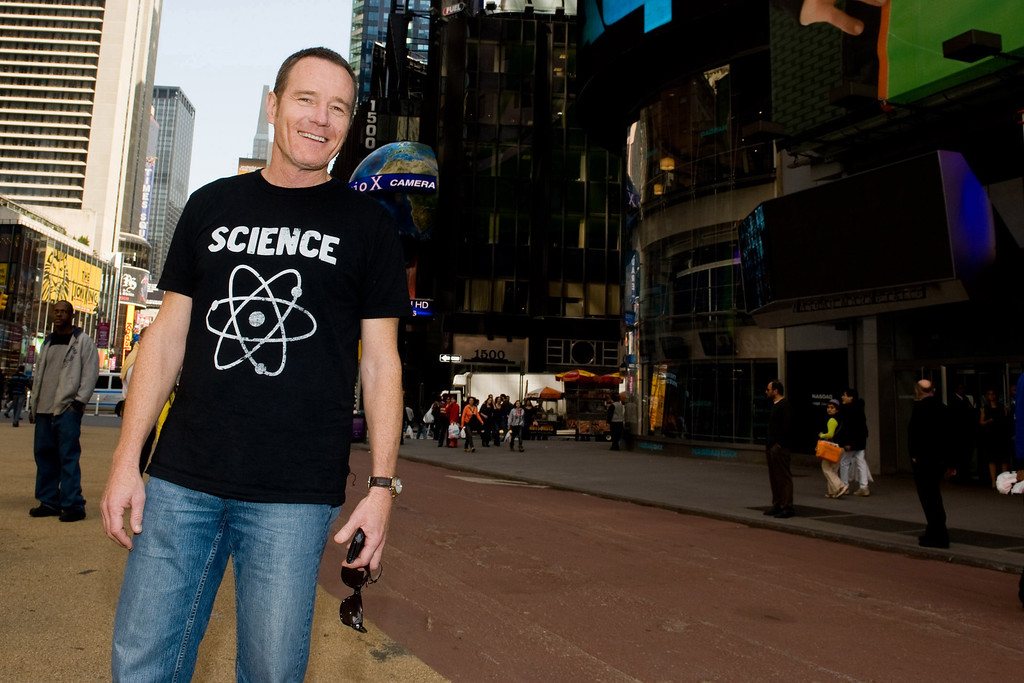 """. Bryan Cranston attends the final stop in the \""""Breaking Bad\"""" promotional RV Tour in Times Square, New York, Friday, March 19, 2010. (AP Photo/Charles Sykes)"""