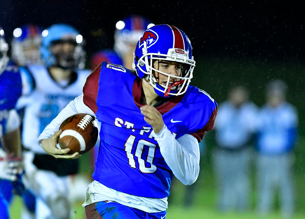 11/27/2019 Mike Orazzi | StaffrSt. Paul's Brycen Kennedy (10) during Wednesday night's football game with Oxford in Bristol.