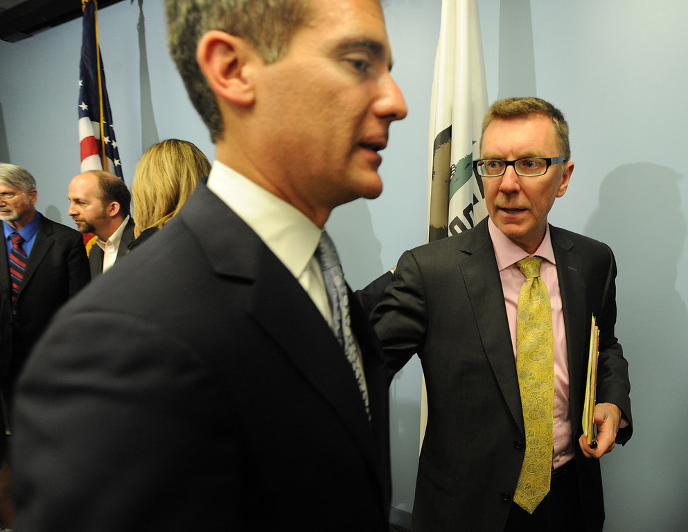 . Los Angeles Mayor Eric Garcetti and LAUSD Superintendent John Deasy after a news conference to provide an update on the bus crash in Northern California at the LAUSD headquarters. Los Angeles, CA. 4/11/2014 (Photo by John McCoy / Los Angeles Daily News)