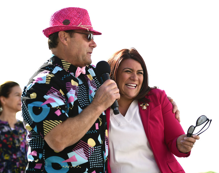 5/11/2019 Mike Orazzi | Staff Announcer Rick Buckley and New Britain Mayor Erin Stewart and during the 16th annual Race in The Park held Saturday in New Britain.
