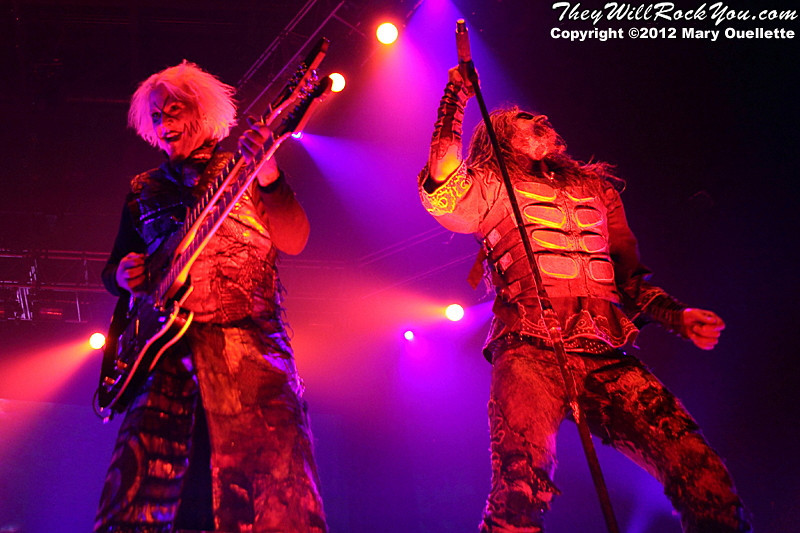 """John 5 and Rob Zombie performs on October 21, 2012 on the """"Twins of Evil"""" tour at the Verizon Wireless Center in Manchester, New Hampshire"""