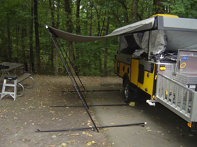Setting up an awning