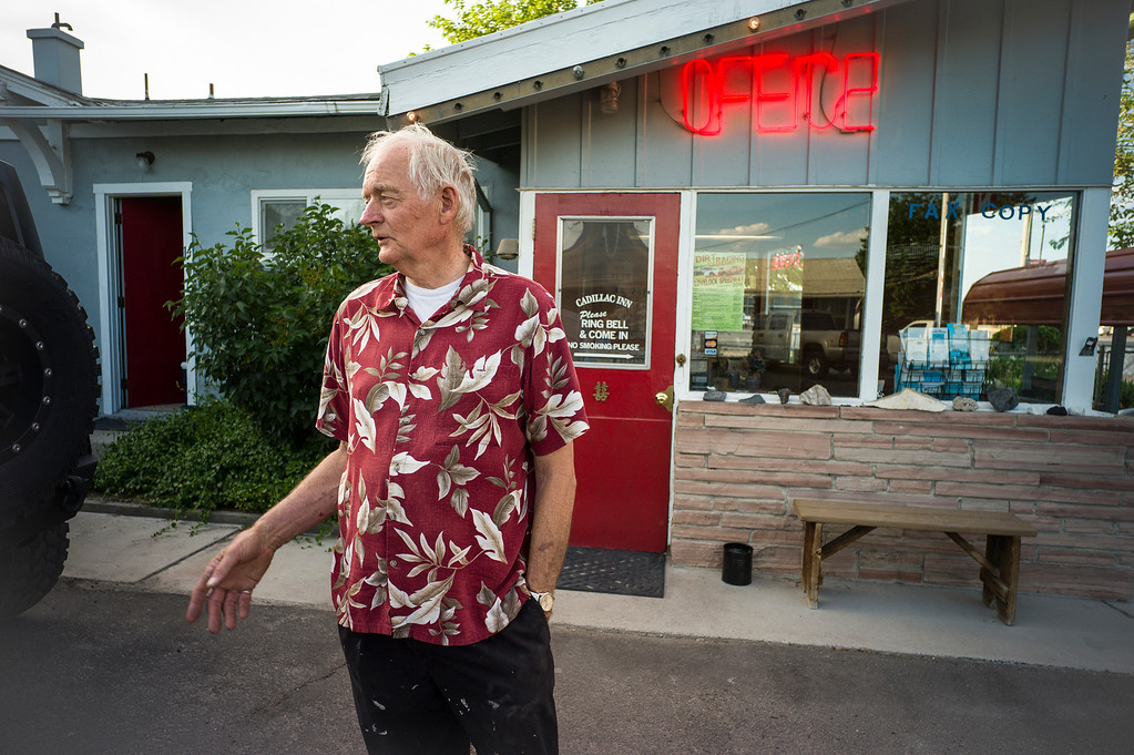 ". Larry deLeeuw, owner of the Cadillac Motel in Lovelock, Nevada says that OJ Simpson lives in a ""gated community\"" just outside of town.  The small town has been put on the map since Simpson was locked up at the Nevada Prison near town.    (Photo by David Crane/Los Angeles Daily News.)"