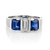 2.83ctw Vintage Emerald Diamond and Sapphire Trilogy Ring 0