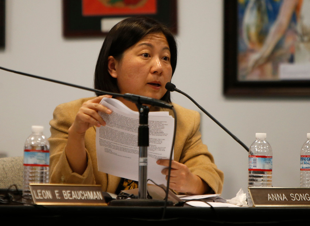 . Santa Clara County Board of Education member Anna Song talks about Rocketship Education\'s petition to open a new school during a board meeting at the Santa Clara County Office of Education San Jose, Calif. on Wednesday, Jan. 23, 2013.  (Nhat V. Meyer/Staff)
