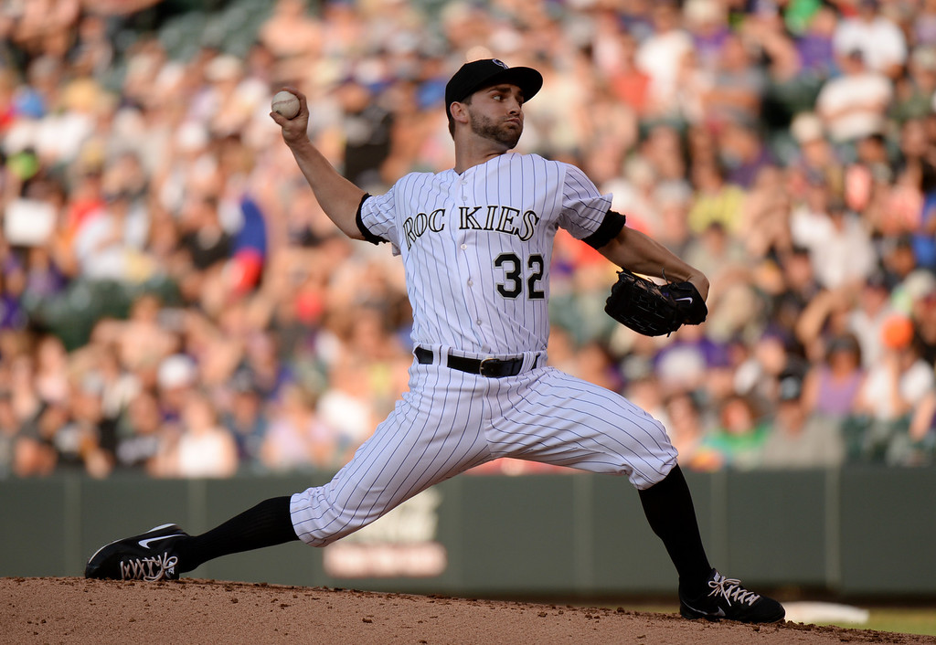 . DENVER, CO. - July 03: Tyler Chatwood of Colorado Rockies (32) pitched 5 innings against Los Angeles Dodgers at Coors Field. Denver, Colorado. July 3, 2013. (Photo By Hyoung Chang/The Denver Post)