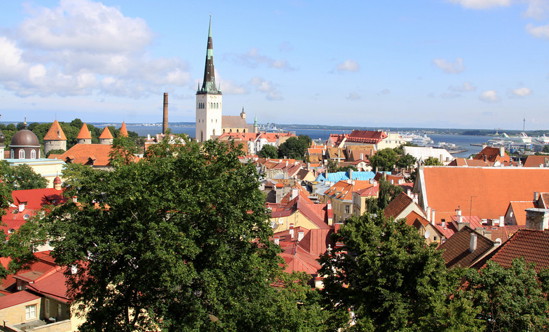 View from Toompea across Old Tallin to the Baltic Sea.