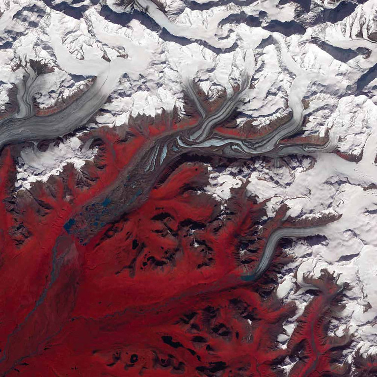 . Susitna Glacier, United States Folds in the lower reaches of valley glaciers can be caused by powerful surges of tributary ice streams. Susitna Glacier in the Alaska Range, seen in this Terra image from 2009, displays this phenomenon. Vegetation appears in shades of red and snow is white. The glacier�s surface is marbled with dirt-free blue ice and debris-coated brown ice. Infusions of relatively clean ice push in from tributaries in the north. The glacier surface appears especially complex near the center of the image, where a tributary has pushed the ice in the main glacier slightly southward. Steep cliffs and slopes exist in the glacier surface, with most of the jumble the result of surges in tributary glaciers. Glacial surges can occur when meltwater accumulates at the base of a tributary and lubricates the flow. The underlying bedrock can also contribute to glacier surges, with soft, easily deformed rock leading to more frequent surges.   NASA