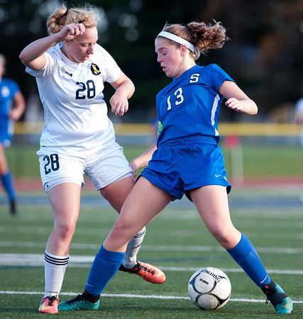 11/07/18 Wesley Bunnell | Staff Southington girl soccer was defeated in PK by Simsbury in a second round Class LL CIAC Tournament game on Wednesday night. Natalie Verderame (13).