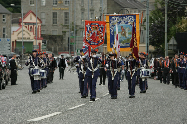 Members of the Benagh Loyal Orange Lodge pictured during the Twelveth march in Newry. 07W29N4