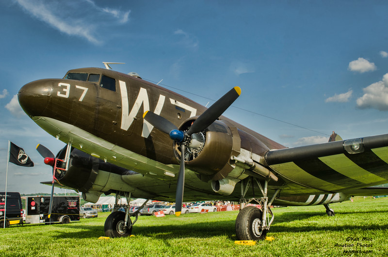"""""""Whiskey 7"""" a C-47 that flew at Normandy and now flown by the National Warplane Museum in Geneseo New York."""
