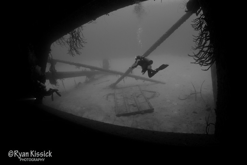 Juliana exploring the wreck of the Hilma Hooker