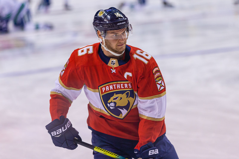 Panthers forward and captain Aleksander Barkov (#16)  skates during the pregame warmup at the BB&T Center on Thursday, January 9, 2020, where the Panthers hosted the Vancouver Canucks. The Panthers would go on to beat the Canucks 5-2.  [JOSEPH FORZANO/palmbeachpost.com]