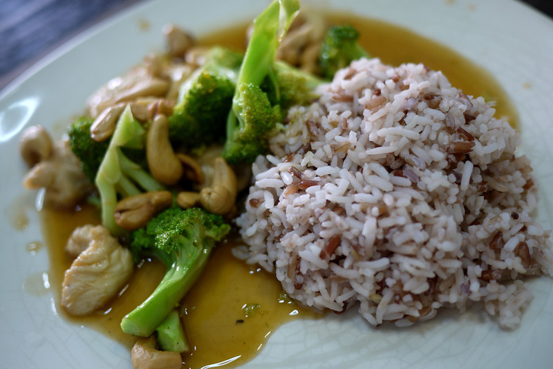 Chicken, cashew nut, and broccoli.