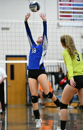 11/16/2019 Mike Orazzi | StaffrBristol Easterns Leah Chipman (18) during the 2019 State Girls Volleyball Tournament Class L Quarterfinals at BEHS in Bristol Saturday. r