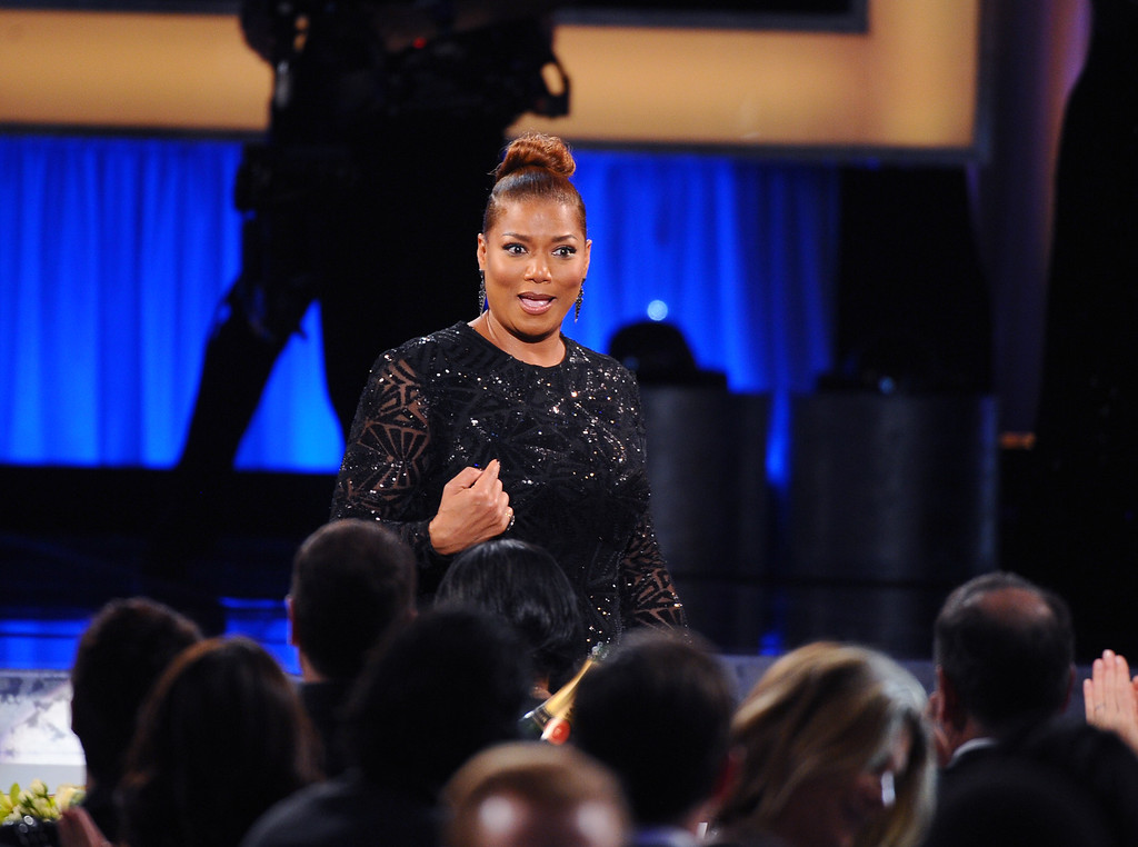 """. Queen Latifah reacts as she walks on stage to accept the award for outstanding female actor in a TV movie or miniseries for ìBessie\"""" at the 22nd annual Screen Actors Guild Awards at the Shrine Auditorium & Expo Hall on Saturday, Jan. 30, 2016, in Los Angeles. (Photo by Vince Bucci/Invision/AP)"""