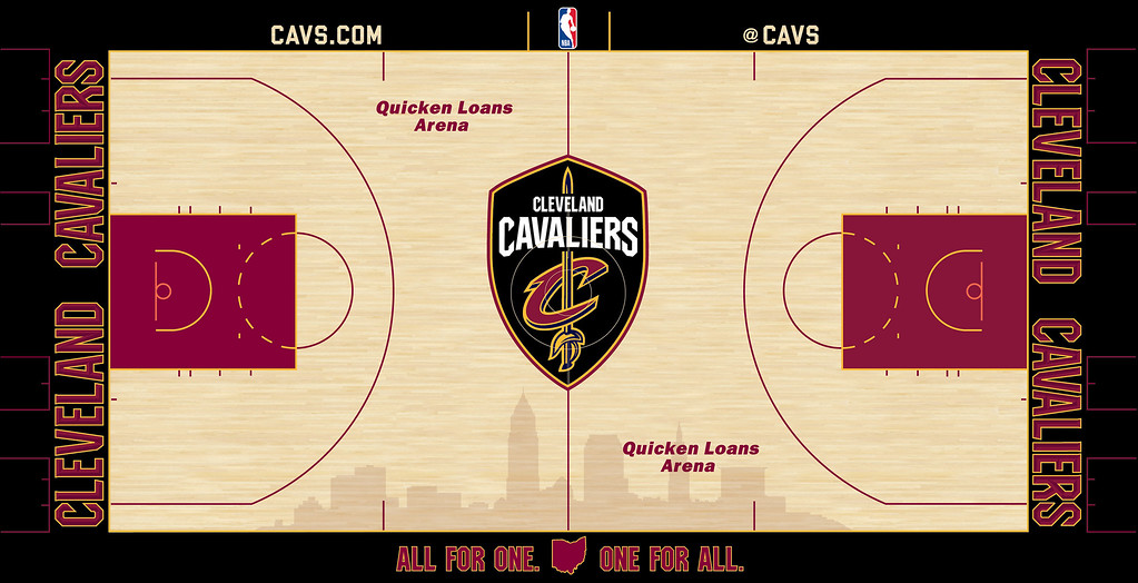 . �The Shield,� the tool of a defender that represents the Cavaliers commitment to Defend The Land and the spirit of resilience that is Cleveland, stands guard at center court as the focal point of the team�s new court design for the 2017-18 season. The new home floor is the latest update to the Cavs modernized brand that was recently introduced along with a new uniform collection featuring the famed Nike Swoosh and Goodyear Wingfoot.  (Courtesy Cleveland Cavaliers)