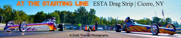 Dragsters leaving the Start Line at ESTA Safety Park Drag Strip near Cicero, New York.