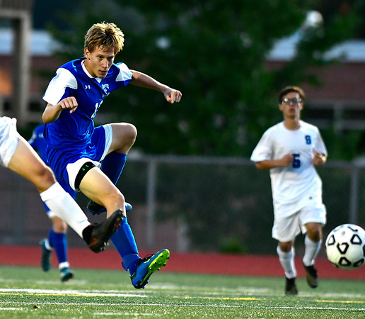 10/9/2018 Mike Orazzi | Staff Bristol Eastern's Jacob Woznicki (10) scores against Southington at BEHS Tuesday.