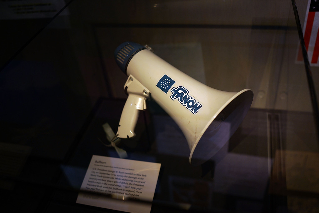 . The bullhorn President George W. Bush used to speak to first responders and the public at Ground Zero on September 14 is viewed during a tour the National September 11 Memorial Museum on May 14, 2014 in New York City.  (Photo by Spencer Platt/Getty Images