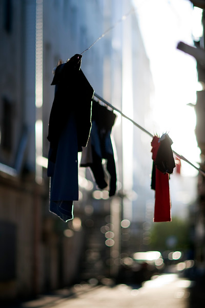 Laundry hung on the street, Seville, Spain