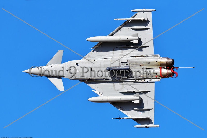 Eurofighter Typhoon-British RAF 0013 Belly view of a British RAF Eurofighter Typhoon jet fighter banking right after taking off at Nellis AFB during a Red Flag exercise in 2020, military airplane picture by Peter J. Mancus     852_6827     DONEwt.JPG