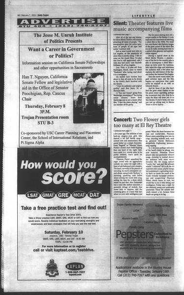 Daily Trojan, Vol. 142, No. 20, February 07, 2001