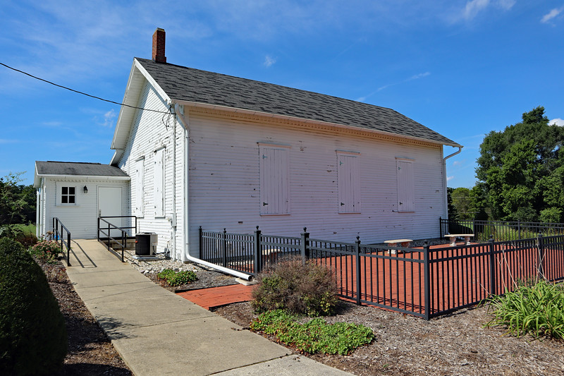 The old township hall has a patio.