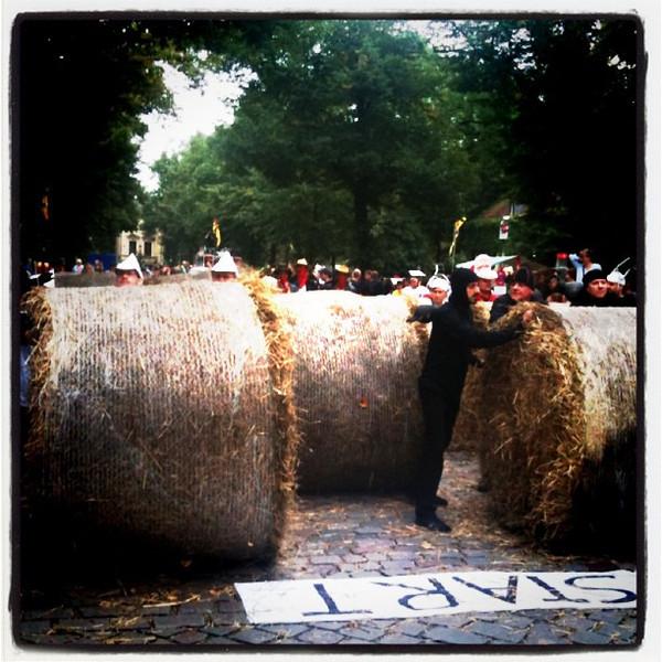Hay bale races in Ritzdorf, #berlin. Quirky weekend fun.