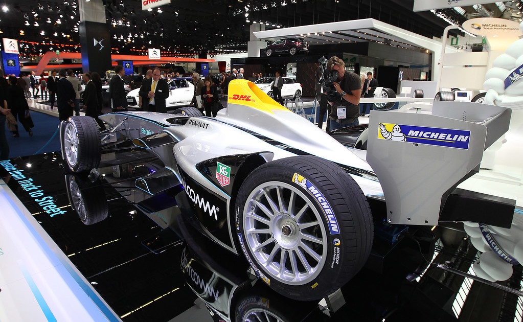 . A Renault Spark SRT-01E FIA Formula E race car is presented at the booth of Michelin during the media day of the IAA (Internationale Automobil Ausstellung) international motor show in Frankfurt am Main, western Germany, on September 10, 2013.    AFP PHOTO / DANIEL ROLAND/AFP/Getty Images