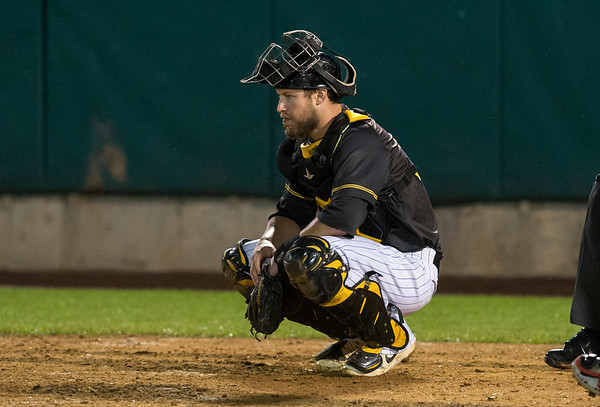 09/06/19 Wesley Bunnell | StaffrrThe New Britain Bees vs the Lancaster Barnstormers on Friday night at New Britain Stadium. Logan Moore (30).