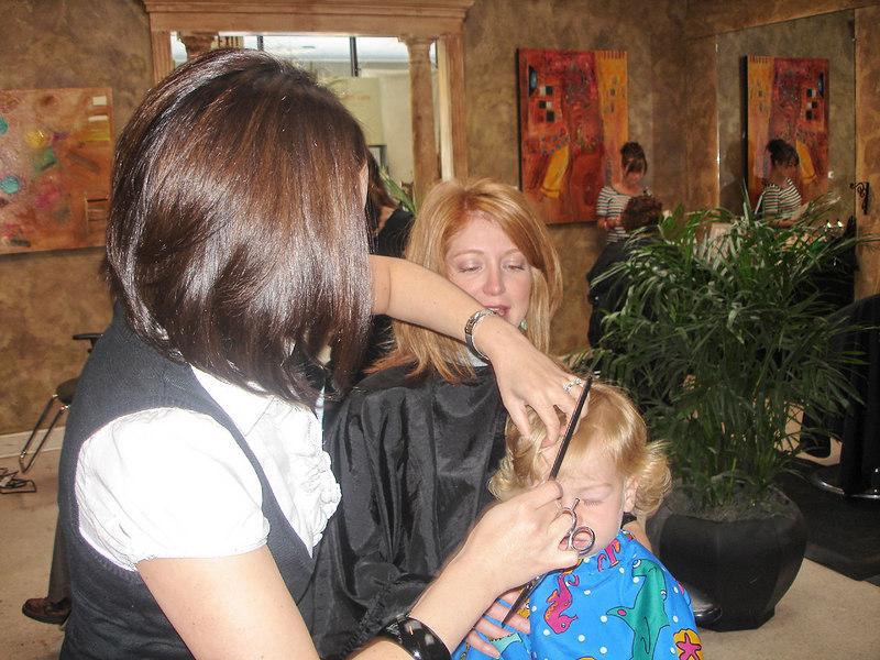 Gabey's first haircut.