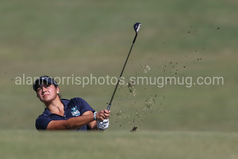 UNCW's Kayla Thompson fairway shot during Round 1 of the 15th annual Landfall Tradition tournament held at the Country Club of Landfall, Dye Course, Wilmington N.C. Friday, October 28, 2016.  Alan Morris/Star News