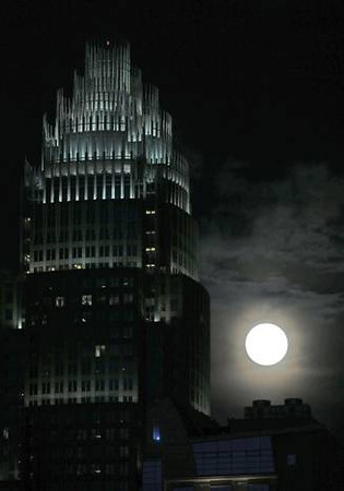 Supermoon, the first FULL day of summer, June 22, 2013.  Bank of America Building, Charlotte, NC.