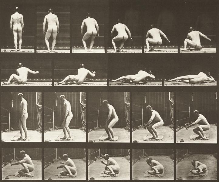 Nude man lying on the ground (Animal Locomotion, 1887, plate 257)
