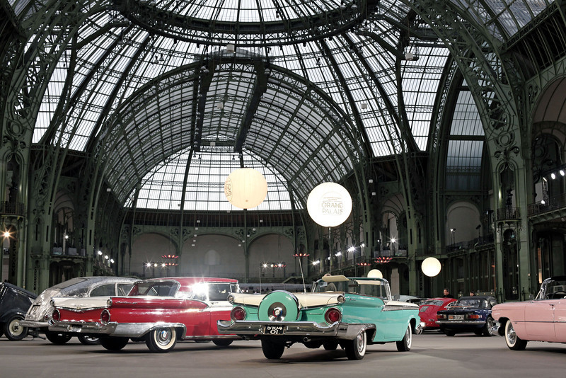 . Vintage and classic cars are displayed by Bonhams auction house, during an exhibition, at the Grand Palais in Paris, Wednesday, Feb. 5, 2014. The Grand Palais is staging an exhibition of vintage cars, to be followed by a sale of historic cars by Bonhams auction house on Thursday. (AP Photo/Thibault Camus)