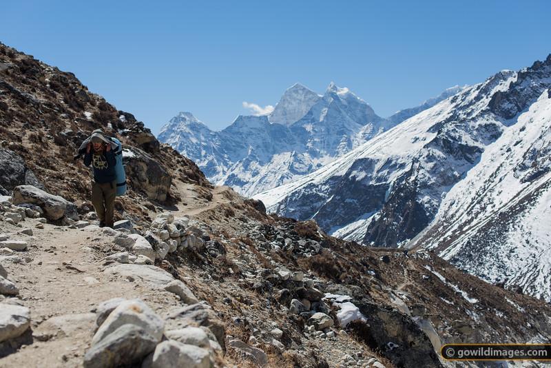 Porter on the trail near Dughla, Kangtega looms behind