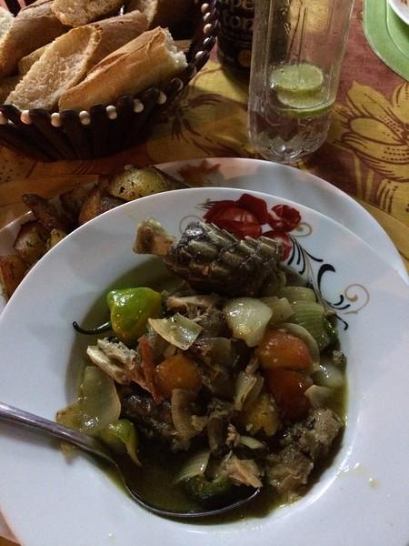 Fresh Caiman at Cafe De Wharf, Port-Gentile, Gabon