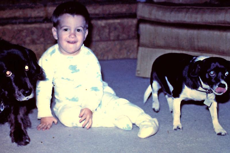 Randy 18 mos with Lassie & George Brookings 14th St.jpg
