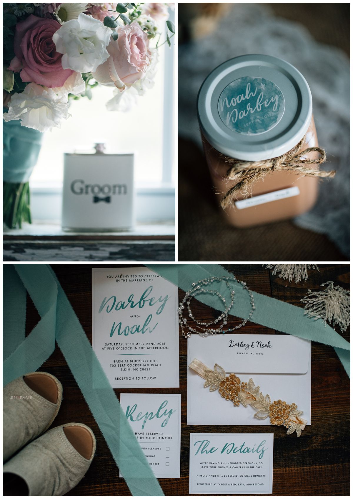 teal and gold wedding details and wedding at the barn at blueberry hill