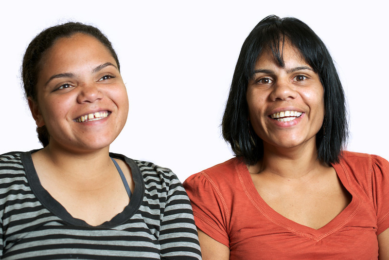 Two Indigenous Australian Women on a White Background