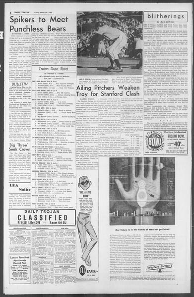 Daily Trojan, Vol. 53, No. 100, March 30, 1962