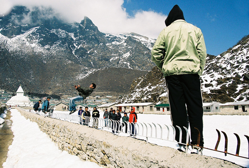 Backflip into the snow - Sir Edmund Hillary School in Khumjung