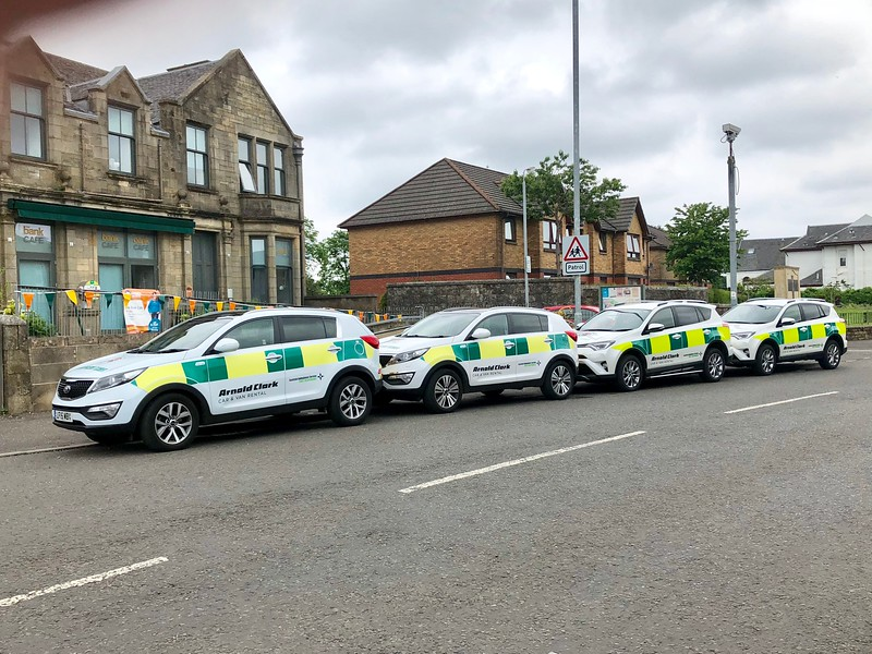Neilston and Uplawmoor Community First Responders New & Old cars @ our base.