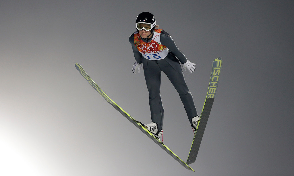 . United States\' Jessica Jerome makes her trial jump in the women\'s ski jumping normal hill final at the 2014 Winter Olympics, Tuesday, Feb. 11, 2014, in Krasnaya Polyana, Russia. (AP Photo/Matthias Schrader)
