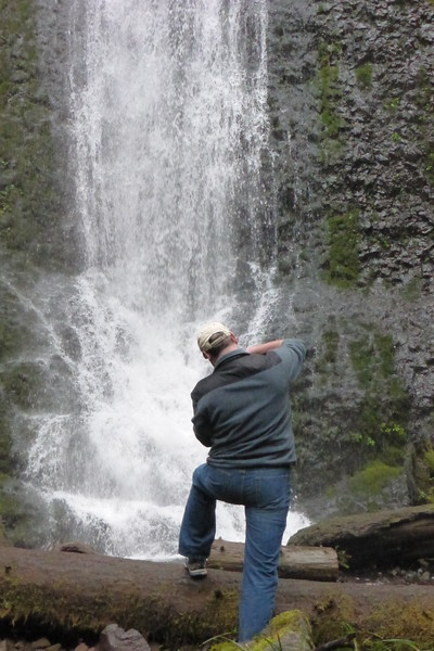 Dave taking a photo of Winter Falls