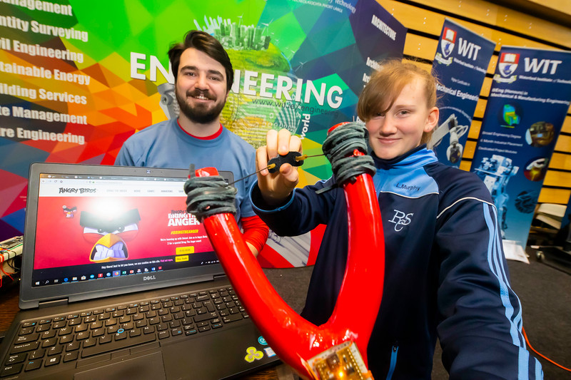 "22/11/2019. FREE TO USE IMAGE. Pictured at Waterford Institute of Technology (WIT) Open Day. Pictured is Rachael Kennedy from Ramsgrange Community College with Daire Jackman, an electronics student School of Engineering WIT. Picture: Patrick Browne  Two open days taking place this week for school leavers and adult learners at WIT Arena  Families of south east Leaving Cert students wishing to get as much course and college-related research done as early as possible in sixth year can do so by attending the Waterford Institute of Technology (WIT) Saturday Open Day, 9am-2pm on 23 November 2019. The traditional schools' open day will run as usual on Friday, 22 November with a focus on information for secondary school students, students in further education colleges, and other CAO applicants, including mature students.  The Saturday Open Day – isn't just about courses for school leavers – it will have information available on the courses available across WIT's schools of Lifelong Learning, Humanities, Engineering, Science & Computing, Health Sciences, Business.  Adults interested in upskilling, or re-skilling can find out about Springboard courses, traditional evening courses as well as part-time and postgrad courses which are offered. WIT also runs specialist programmes for education, science, engineering and other professionals. The number of students studying WIT's part-time and online courses increased to 1650 in 2018, a 28% increase on 2017.  WIT Registrar Dr Derek O'Byrne says: ""A trend we are seeing at WIT Open Days is that students who may have enjoyed the Schools Open day with their friends and school groups, will return the following day with their parents or guardians.""  Students whose schools are attending are encouraged to join their school group on the Friday. As school students are fully catered for at the Schools' Open Day on Friday, there will not be the same breadth of school leaver focused talks and events at the open day on Saturday."