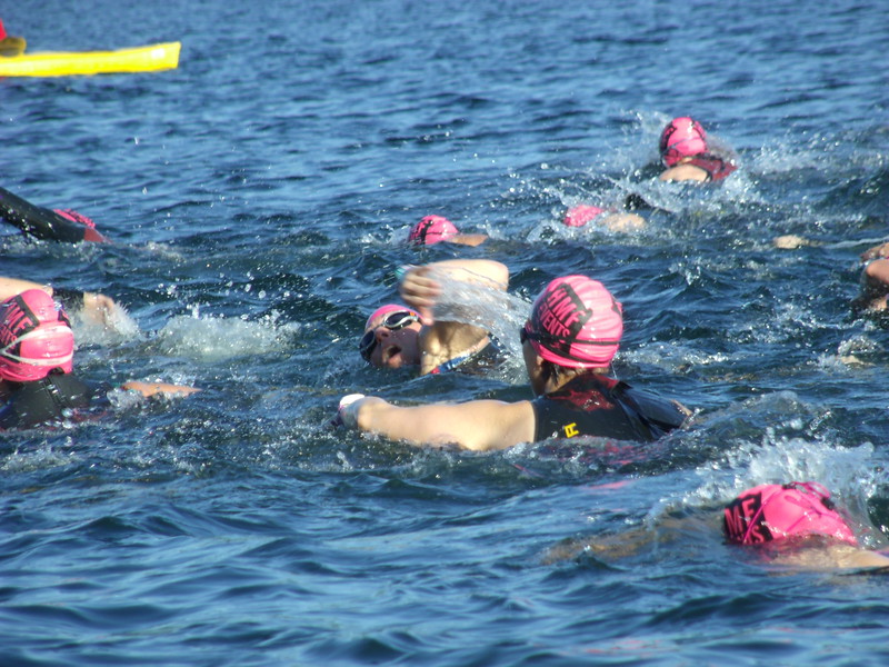 TRIATHALON - Crowded waters in West Hill Lake as the annual Lichfield Hills Triathlon fielded another big turnout.JPG